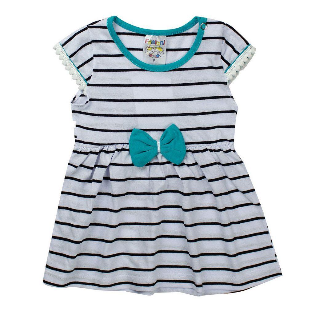 Vestido Listrado Infantil Bebê Detalhe Verde - Fantoni