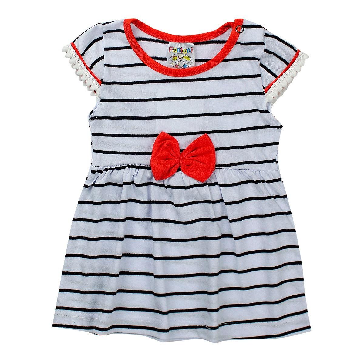 Vestido Listrado Infantil Bebê Detalhe Vermelho