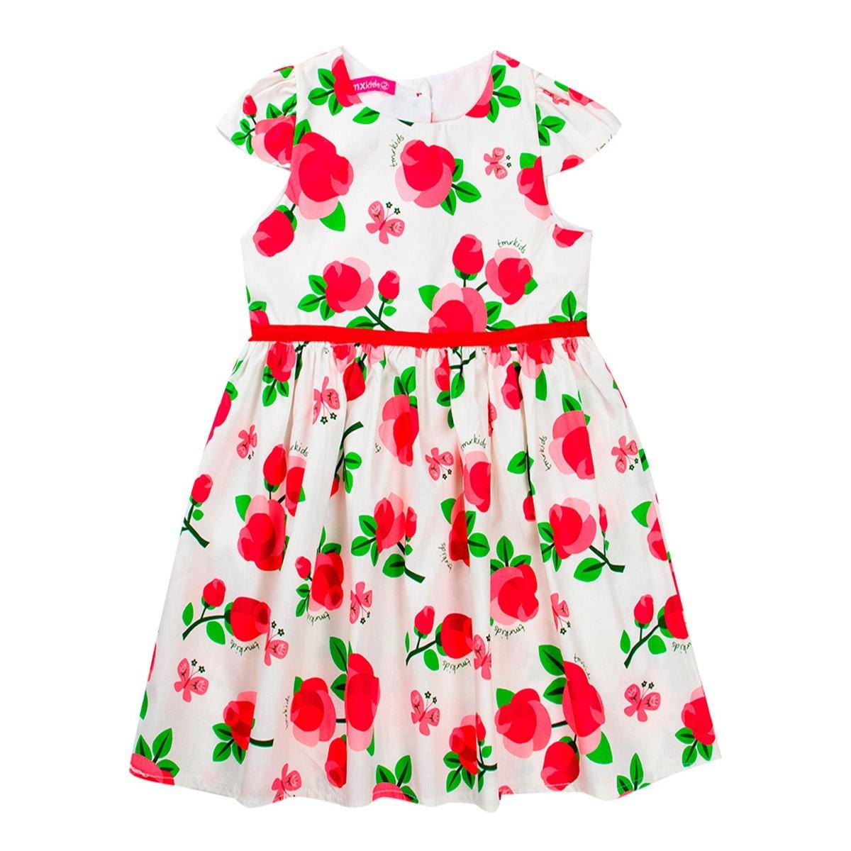Vestidos Femininos Infantil Branco Floral - Tmx
