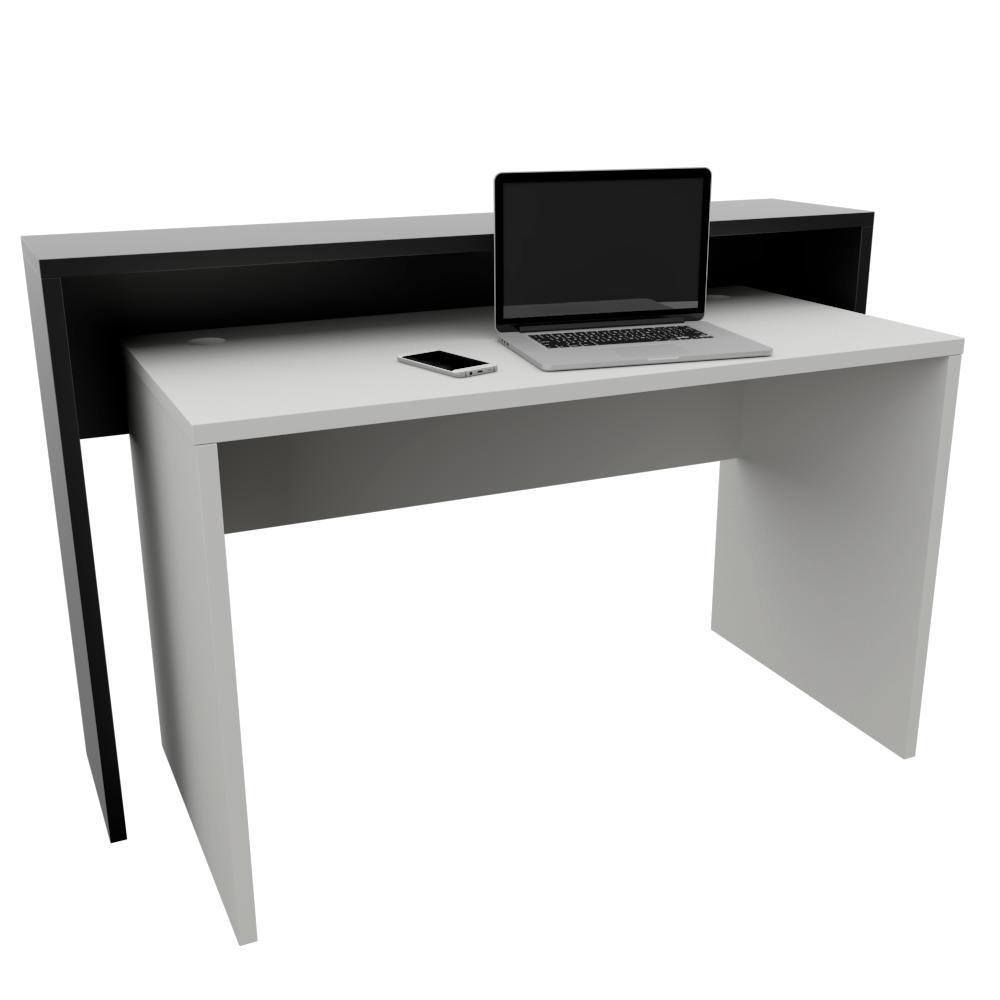 Composição Mesa (1,2 m x 60 cm x 74 cm) e Aparador (1,4 m x 30 cm x 90 cm) para Estação de Trabalho/Balcão de Atendimento
