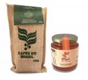 """Café """"Mini Saca"""" Cafés do Brasil + Mel da Flor do Café"""
