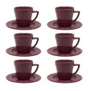 CJ 6 Xícaras e Pires Pequenas Bordô 90 ml para café