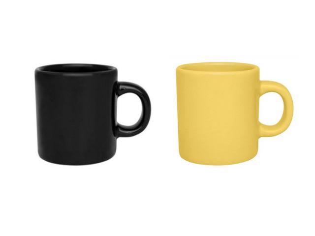 Conjunto de Canecas Pequenas Preta e Amarela para Café 100ml