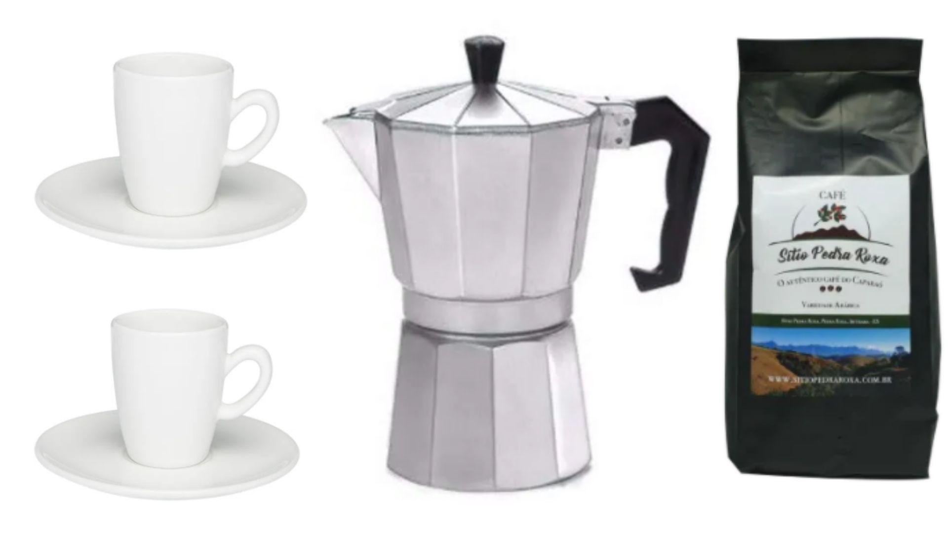 2 Xícaras para Expresso 1 Cafeteira Italiana para Expresso e 1 Café Pedra Roxa em grão