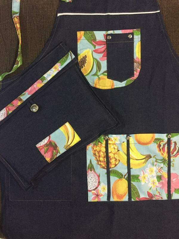Avental para barista jeans floral