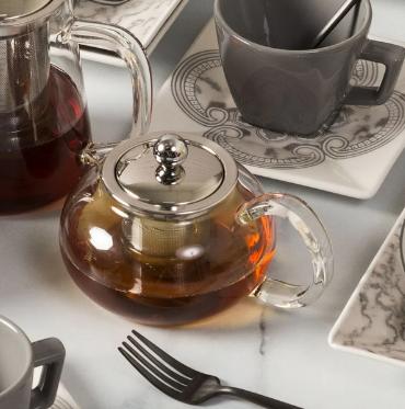 Bule para Chá em Vidro e Aço Inox com Infusor 500 ml