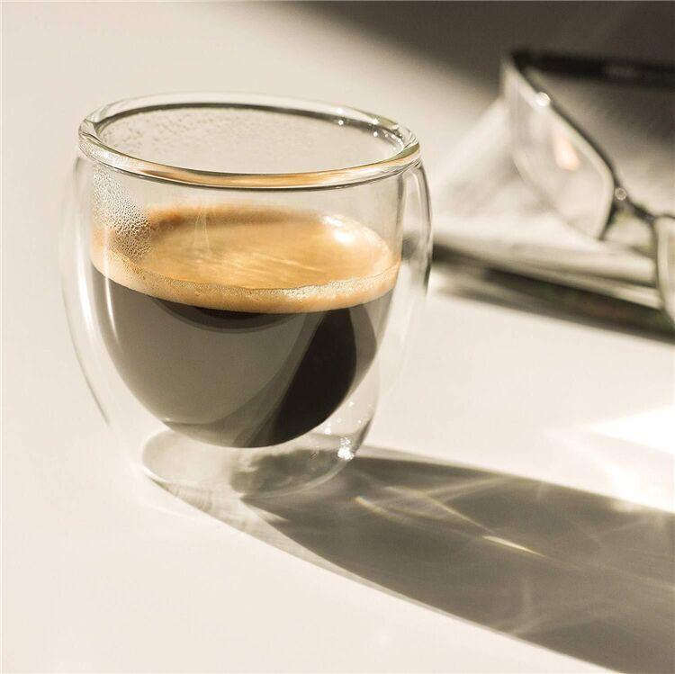 Copo de Espresso Parede Dupla de Vidro 80 ml - Oval