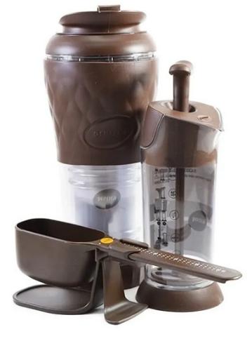 Kit Cafeteira Pressca Balança Dose Certa e Espumador Marrom