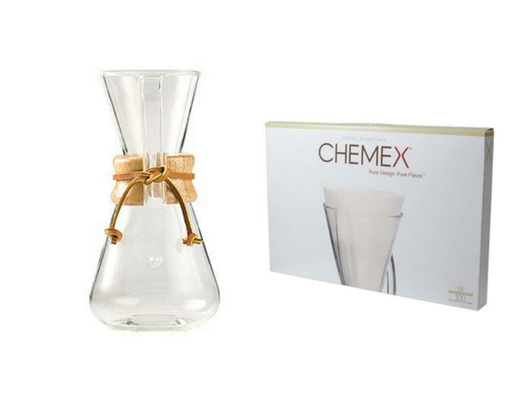 Kit Chemex 3 Xicaras  1 Jarra Chemex + 1 Filtro Chemex 100 unid