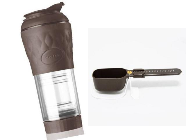 Kit pressca café e balança dose certa marrom