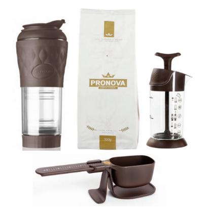 Kit Pressca Marrom Balança Espumador de Leite e Café Pronova