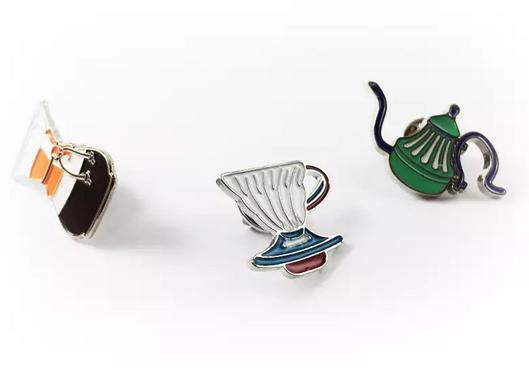 Mini broche café métodos de preparo - Trio cores com Broche Chemex