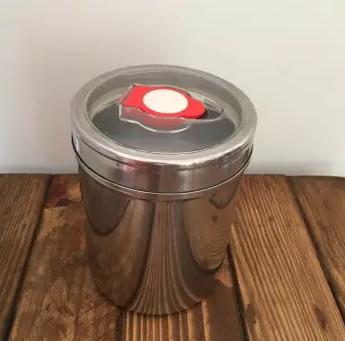 Pote para armazenar café em inox - Maior - Hermético - para 400g