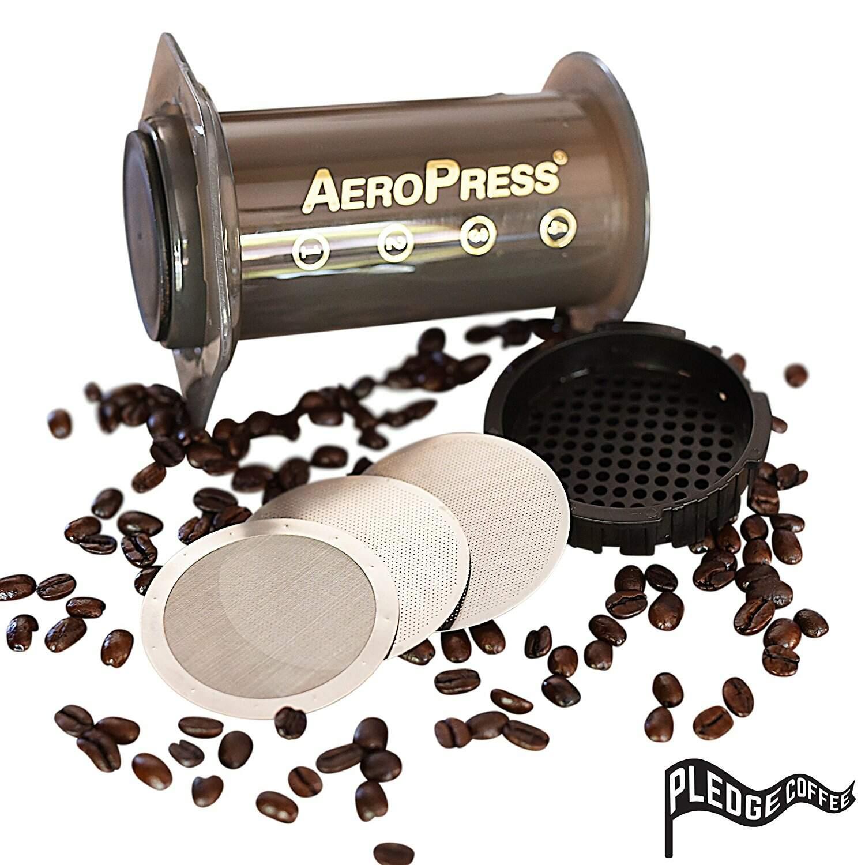 Trio de filtro Aeropress reutilizável  - Fino, Ultra-fino, Mesh