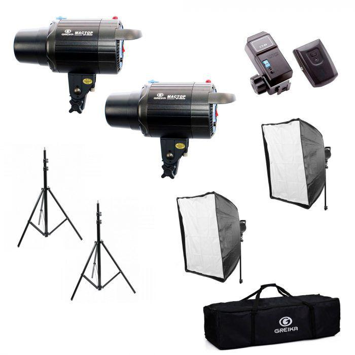 Kit Flash Mactop 600 para Estúdio Fotográfico Greika