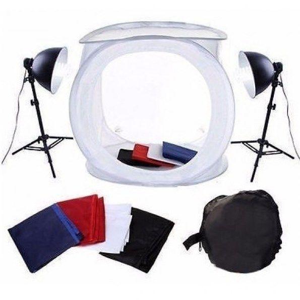 Kit Mini Estúdio Fotográfico Tenda 40cm Tripé - Lâmpada 45w