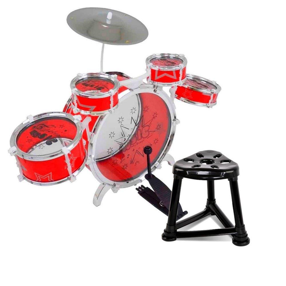 Brinquedo Bateria Musical Vermelha Fenix Brinquedos