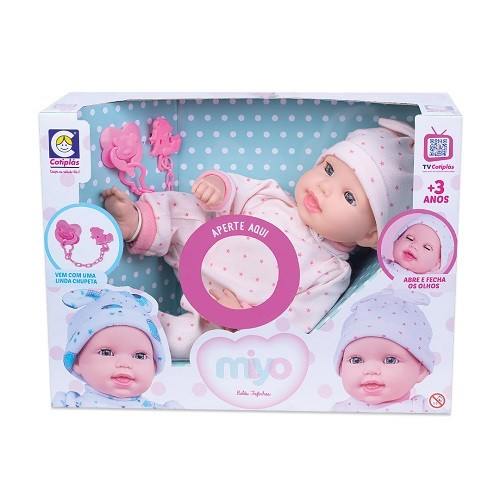 Boneca Miyo Menina com som de Bebê