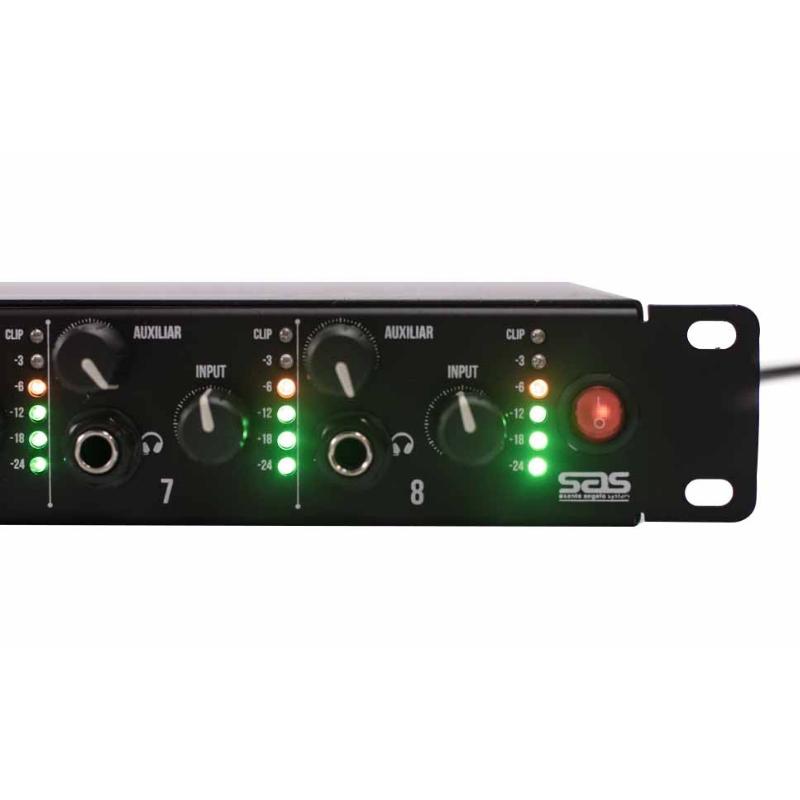 Amplificador Fone Ouvido Santo Angelo Af8 Padrão Rack para até 16 fones