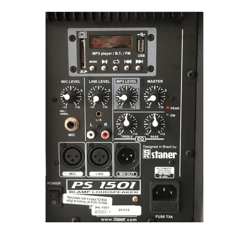 Caixa Acústica Ativa Staner PS1501 com suporte Pedestal e Rodízio