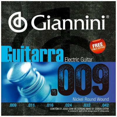 Encordoamento  Guitarra Giannini Nickel Round Wound Geegst09(.009.046)