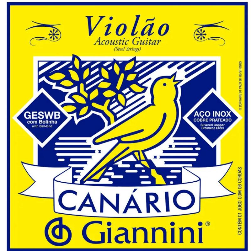Encordoamento Para Violão Aço 6 Cordas Giannini Canário Geswb (.011.045) Média Com Bolinha