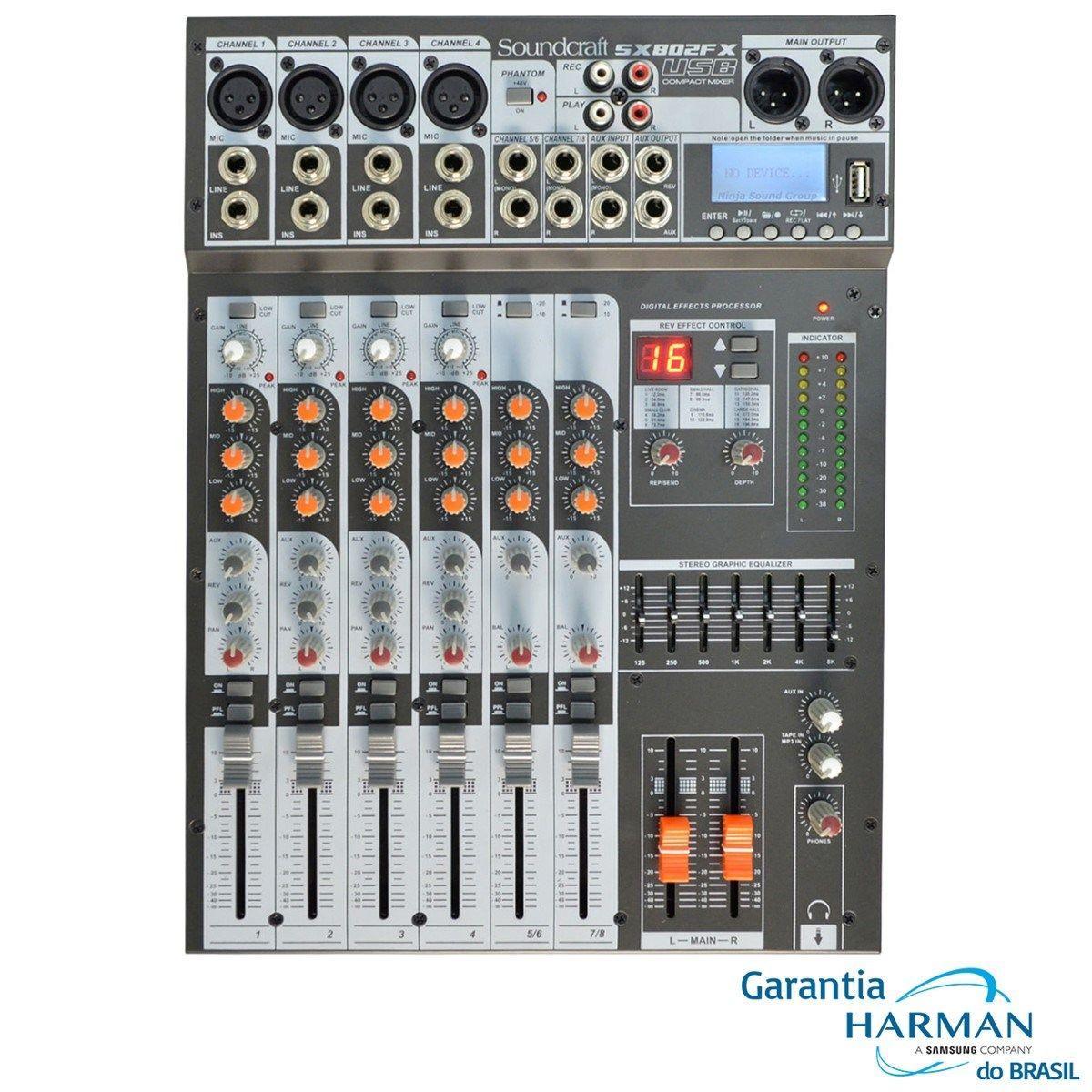 Mixer Sx802Fx-Usb Soundcraft