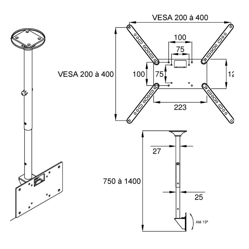 Suporte Tv Lcd  Teto com inclinação e rotação para TV de 19″ a 56″Rotação 360° com 3 níveis de inclinação