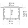 PERFIL EMBUTIDO 65x35x3000mm ILU-GE43 (3metros)
