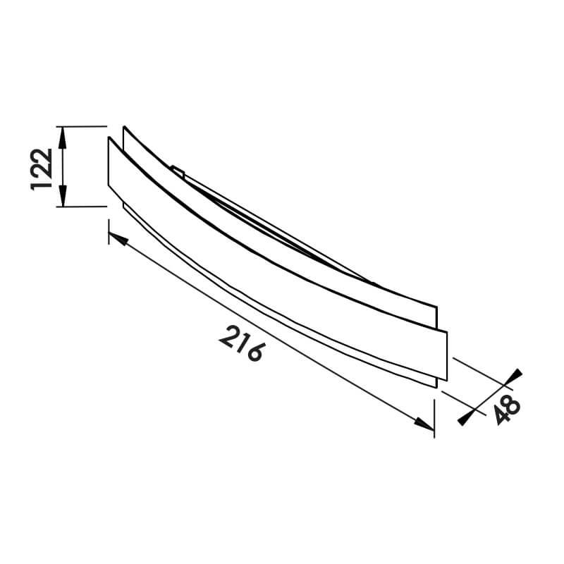 ARANDELA COURBE LED – 127V LED 2700K – 590 X 122 X 63MM