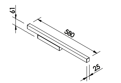 ARANDELA FIT LED 16W  127/220V 25X61X580MM