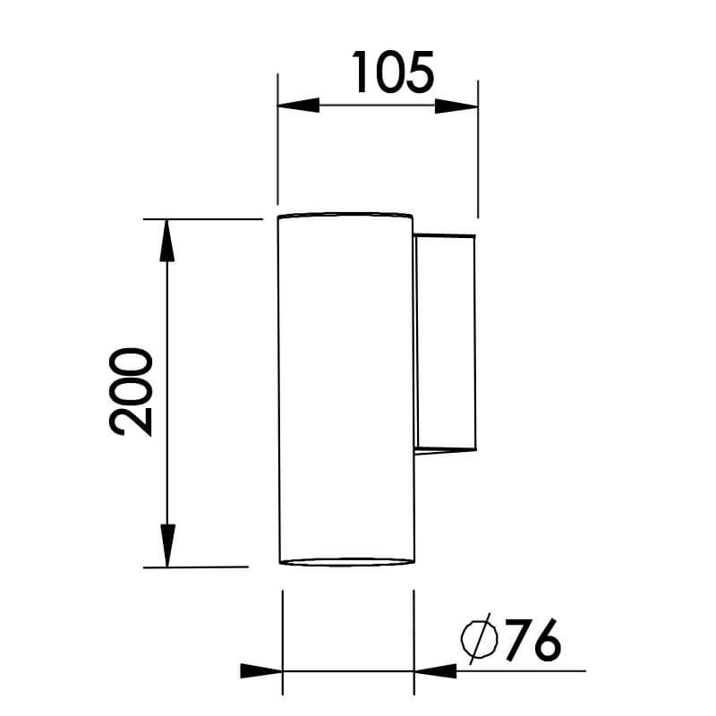 ARANDELA LISSE 1 A60 LED DIAM.76X105X200MM