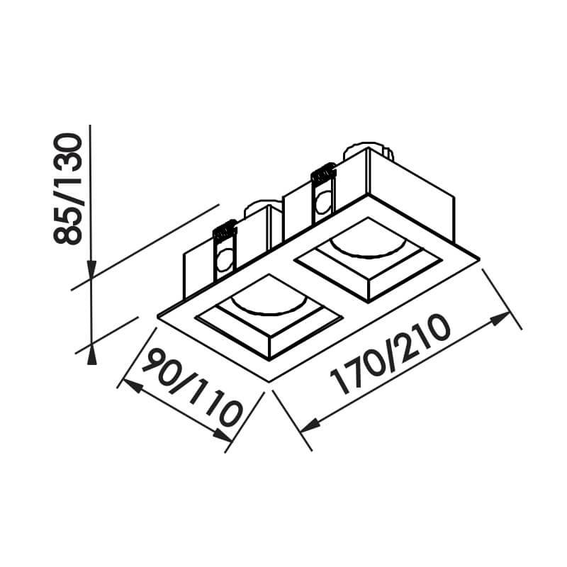EMBUTIDO F 2 PAR20 E27 – BIVOLT 127V / 220V – 110 X 210 X 85MM