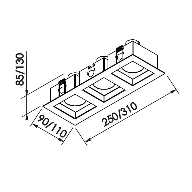 EMBUTIDO F  3 PAR16 GU10 GZ10 – BIVOLT 127V / 220V – 90 X 250 X 85MM