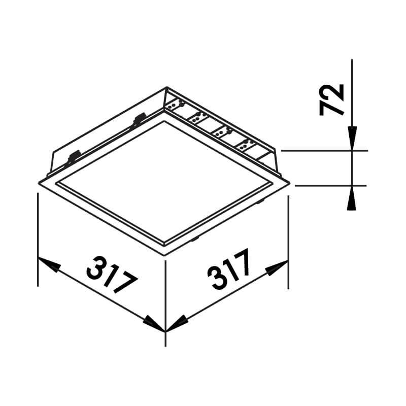 EMBUTIDO F LED 32W – BIVOLT 127V / 220V – 317 X 317 X 72MM
