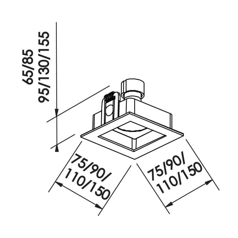 EMBUTIDO F  MINI DICRÓICA GU10 GZ10 – BIVOLT 127V / 220V – 75 X 75 X 65MM