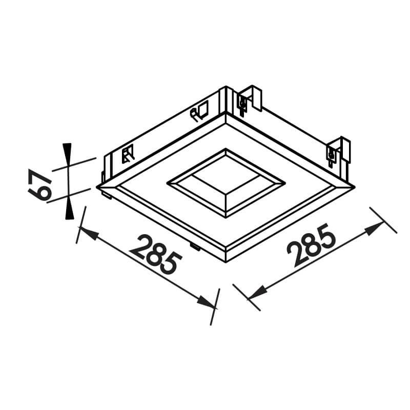 EMBUTIDO NC  16,8W – BIVOLT 127V / 220V LED – 285 X 285 X 67MM