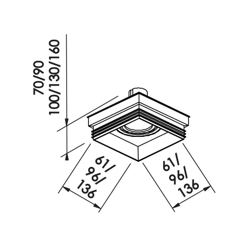 EMBUTIDO NF 1 AR111 LED 136X136X100MM
