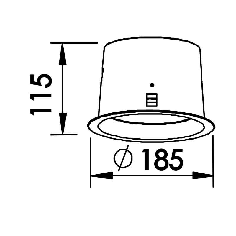 EMBUTIDO P   REDONDO  RECUADO  1 CFL 20W DIAM. 185X115MM