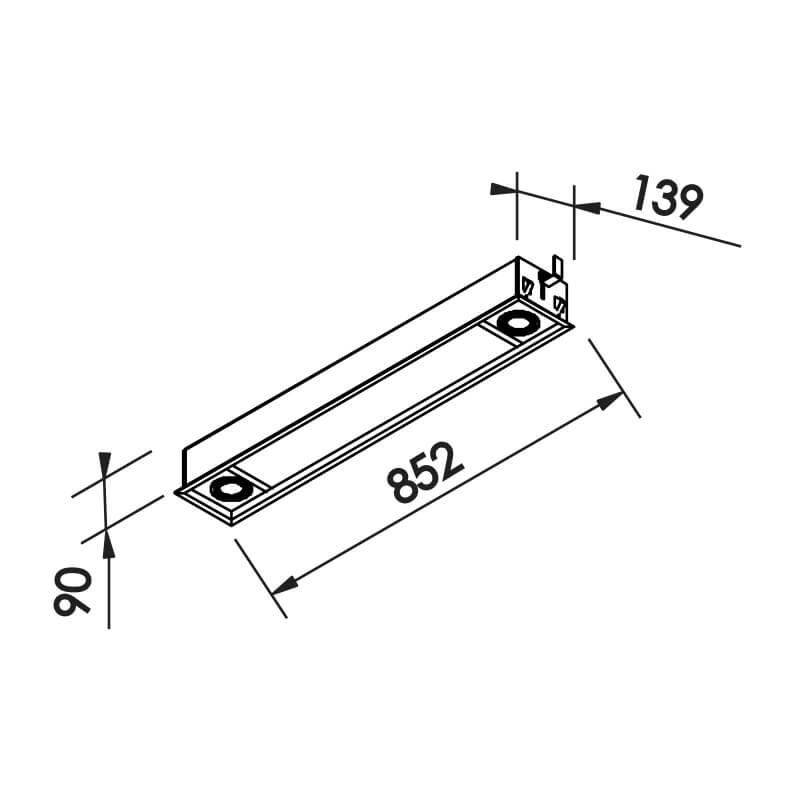 EMBUTIR S II 2 T8 16 18W 2 PAR16 50W 139X852X90MM