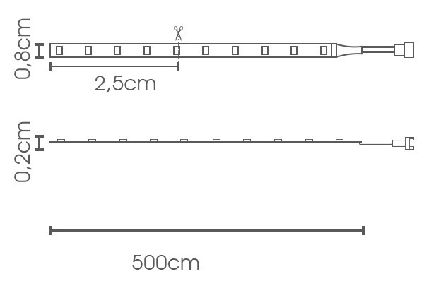 Fita LED chip 3528 lateral LED 9.6W - IP20