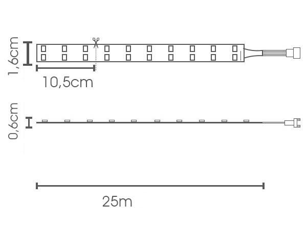 Fita LED eklart 11W/m chip 2835 198Leds/m IP66