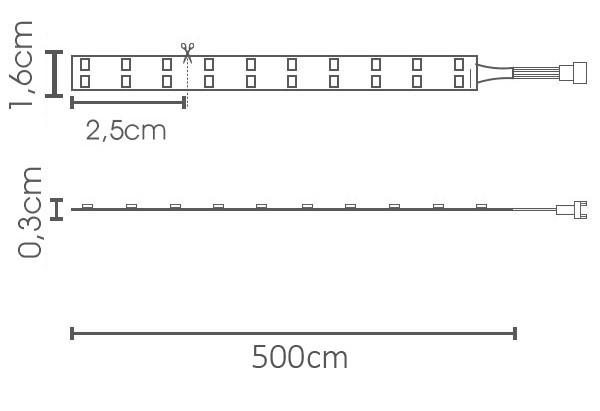 Fita LED eklart 19,2W/m chip 2835 240Leds/m – IP20