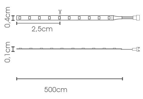 Fita LED eklart chip 2835 120Leds/m 10W/m 4MM 12V IP20