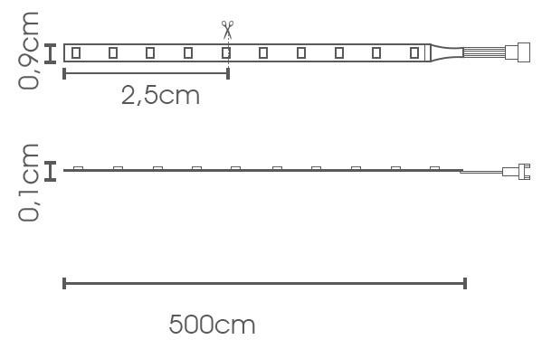 Fita LED eklart chip 2835 5W Azul 60Leds/m - IP20