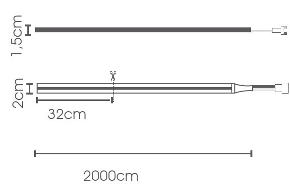 Fita LED eklart NEON chip 2835 8W 2700K - IP66