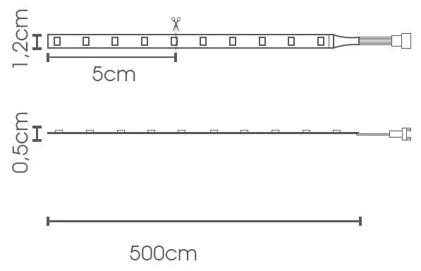 Fita LED eklart RGB 10W chip 5050 60Leds/m - IP65