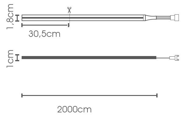 Fita LED eklart U500 chip 2835 108P 8W/m 24V IP66 - VERMELHO