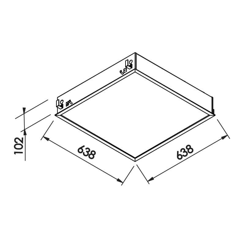LUMINÁRIA F   4 T8 G13 – BIVOLT 127V / 220V – 638 X 638 X 120MM
