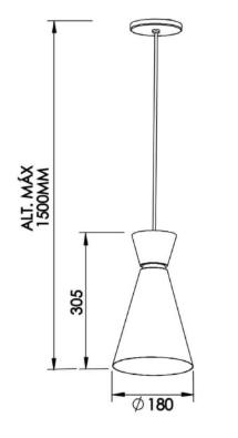 PENDENTE BAMBOLA 1 CFL 25W DIAM.180X305MM